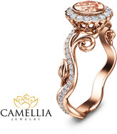 Etsy Art Deco Rose Gold Morganite Ring 14K Rose Gold Engagement Ring Unique Engagement Ring Morganite Eng