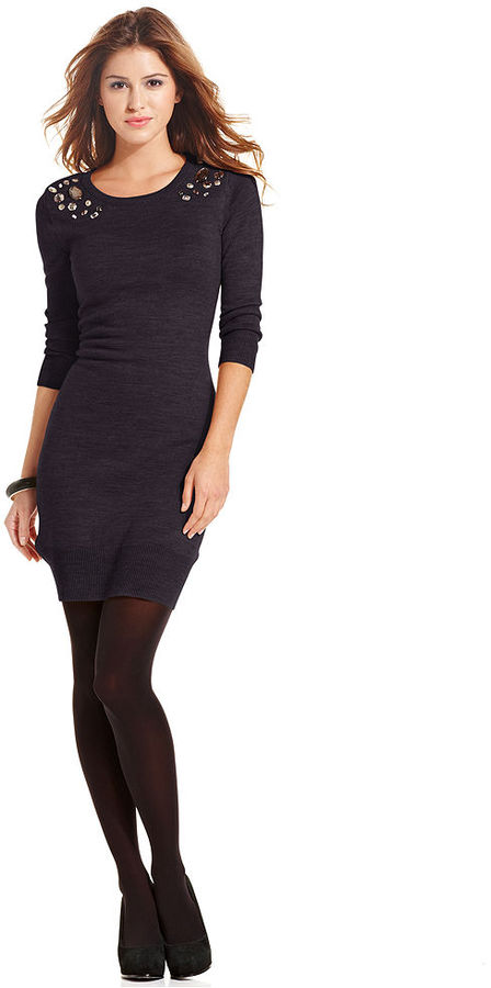 Amy Byer BCX Three-Quarter-Sleeve Rhinestone Sweater Dress