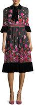 Kate Spade Dru Bell-Sleeve Tie-Neck Scattered Rose Dress
