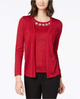 NY Collection Embellished Layered-Look Sweater