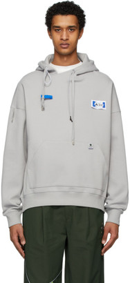 ADER error Grey Rivet Label Hoodie