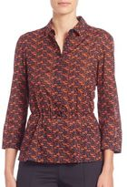 Akris Punto Pebble Print Drawstring Blouse