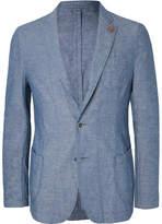 Lardini Light-Blue Slim-Fit Unstructured Cotton And Linen-Blend Chambray Blazer