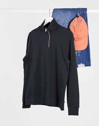 Jack and Jones quarter-zip sweatshirt with scripted text