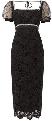 Self-Portrait Self Portrait Crystal-embellished Guipure-lace Midi Dress - Womens - Black