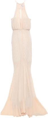 ZAC Zac Posen Beaded Georgette Halterneck Gown