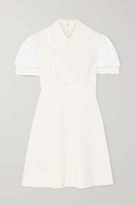 Miu Miu Cotton-blend Lace-trimmed Stretch-jersey Mini Dress - White