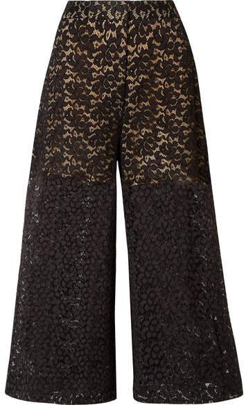 Stella McCartney Cropped Corded Cotton-blend Lace Wide-leg Pants - Black