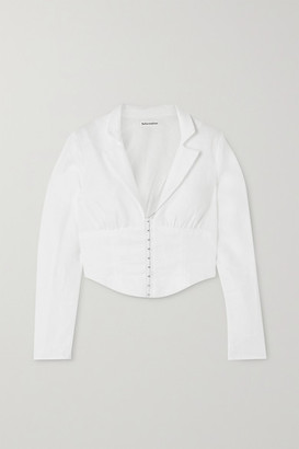 Reformation + Net Sustain Vance Cropped Linen Blouse - White