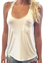 Tonsee Casual Women Summer Sleeveless Lace Blouse Tank Tops T-Shirt (M)