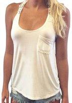 Tonsee Casual Women Summer Sleeveless Lace Blouse Tank Tops T-Shirt (XL)