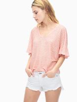 Splendid Linen Mini Stripe V-Neck Top