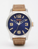 BOSS ORANGE Paris Watch With Brown Leather Strap