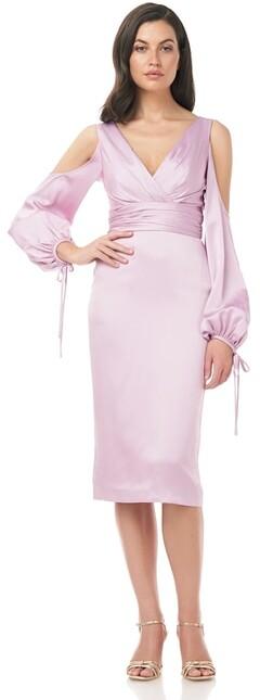 Theia Faux Wrap Satin Back Crepe Cocktail Dress