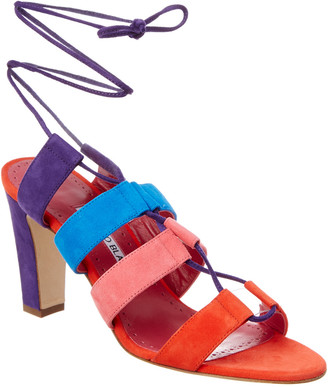Manolo Blahnik Aulus 90 Suede Ankle Wrap Sandal