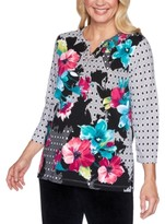 Alfred Dunner Bright Idea Mixed-Print Studded Top