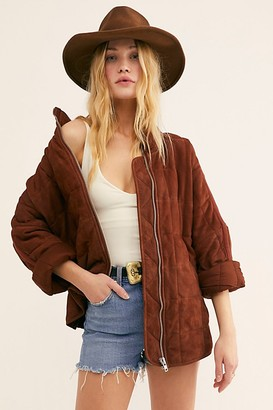 Free People Dolman Quilted Suede Jacket