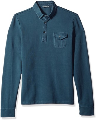 Michael Bastian Men's Long Sleeve Pigment Garment Dyed French Terry Stretch Polo