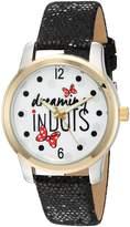 Disney Women's 'Minnie Mouse' Quartz Metal Automatic Watch, Color: (Model: W002789)