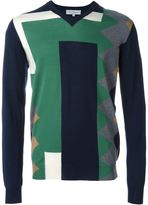 Salvatore Ferragamo colour block intarsia jumper - men - Virgin Wool - L