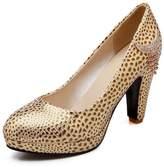 BalaMasa Womens Leopard Tassels Glass Diamond Imitated Leather Pumps-Shoes