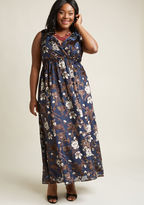 ModCloth Floral Maxi Dress with Surplice Neckline in 1X - Sleeveless A-line