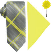 Jf J.Ferrar JF Plaid Pastel Tie, Pocket Square and Lapel Pin Set