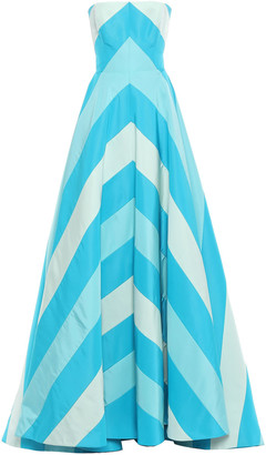 Carolina Herrera Strapless Cutout Striped Silk-faille Gown