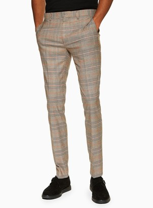 Topman Stone Check Super Skinny Fit Suit Trousers