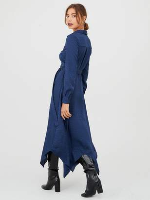 Very Jacquard Hanky Hem Shirt Dress - Navy