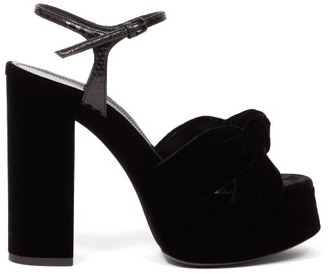 Saint Laurent Bianca Knotted Velvet Platform Sandals - Black