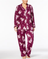 Charter Club Plus Size Floral-Print Cotton Pajama Set, Created for Macy's