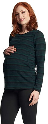 Everly Grey Ashley Maternity Nursing Sweater (Hunter Stripe) Women's Clothing
