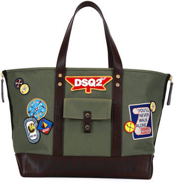DSQUARED2 Camp Leather-Trim Patch Tote