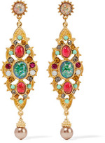 Ben-Amun Gold-Plated Crystal, Stone And Faux Pearl Earrings