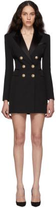 Balmain Black Grain De Poudre Wool Jacket Dress