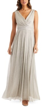 R & M Richards Petite Metallic Crinkle Gown