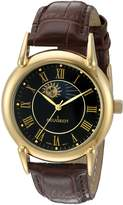 Peugeot Men's '14k Gold Plated' Quartz Metal and Leather Dress Watch, Color:Brown (Model: 3032BK)