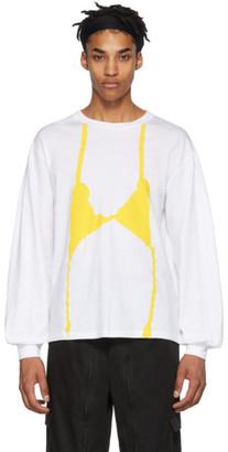 Random Identities White and Yellow Knit Bra Long Sleeve T-Shirt