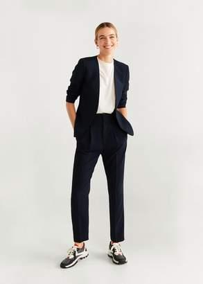 MANGO Structured textured blazer dark navy - 2 - Women