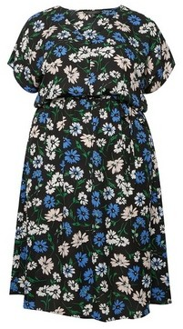 Dorothy Perkins Womens Billie & Blossom Curve Black Floral Print Shirt Dress, Black