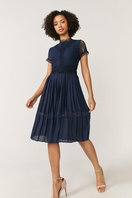 Coast Lace Bodice Pleat Skirt Dress