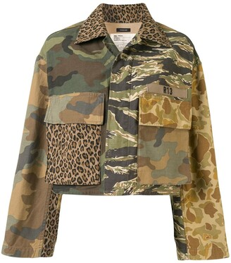 R 13 Contrast Camouflage Print Cropped Jacket