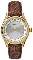 Timex Ladies Goldtone Round Watch with Embossed Brown Leather Strap