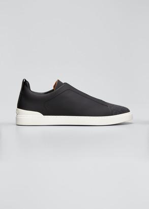 Ermenegildo Zegna Men's Triple-Stitch Leather & Flannel Low-Top Sneakers