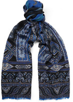 Etro Fringed Patterned Wool and Yak-Blend Scarf