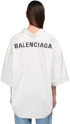 Balenciaga Oversize Striped Cotton S/s Shirt
