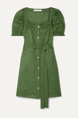 BRIGITTE Sleeper Belted Linen Mini Dress - Army green