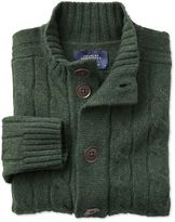 Olive Lambswool Cable Cardigan Size Large By Charles Tyrwhitt