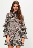 Missguided Pink Paisley Print Ruffle Sleeve Dress, Pink